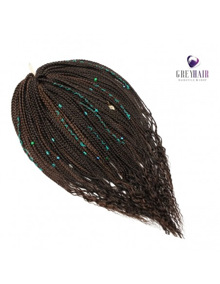 Single ended braids. Brown with Green (121 pieces)